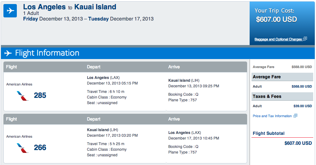 Los Angeles to Kauai American Airlines