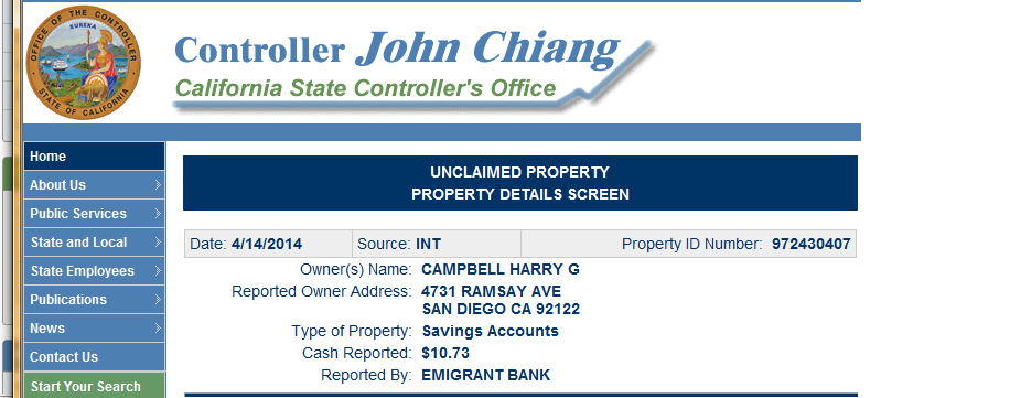 11 Unclaimed Money State of California