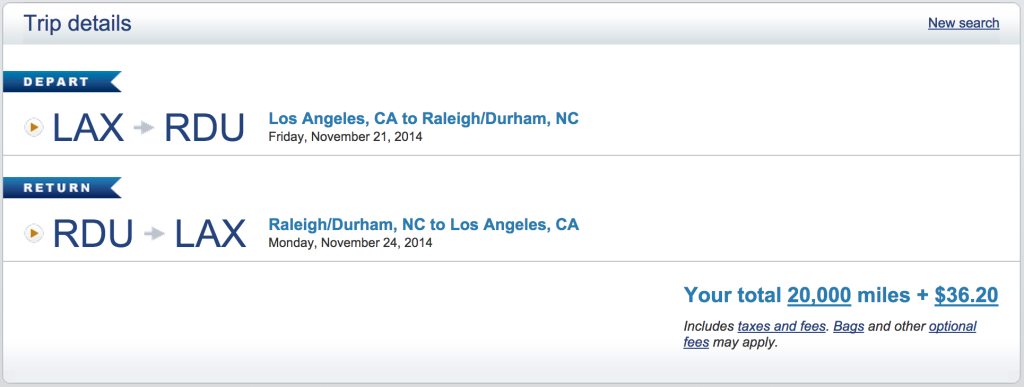 US Airways: LAX to Raleigh Durham Final Points Cost