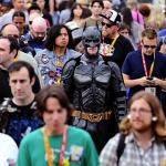 batman in a crowd at comic con
