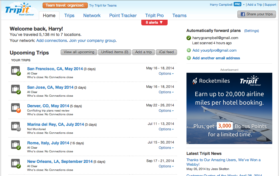 Barclay Arrival Tripit Pro Free Subscription Dashboard