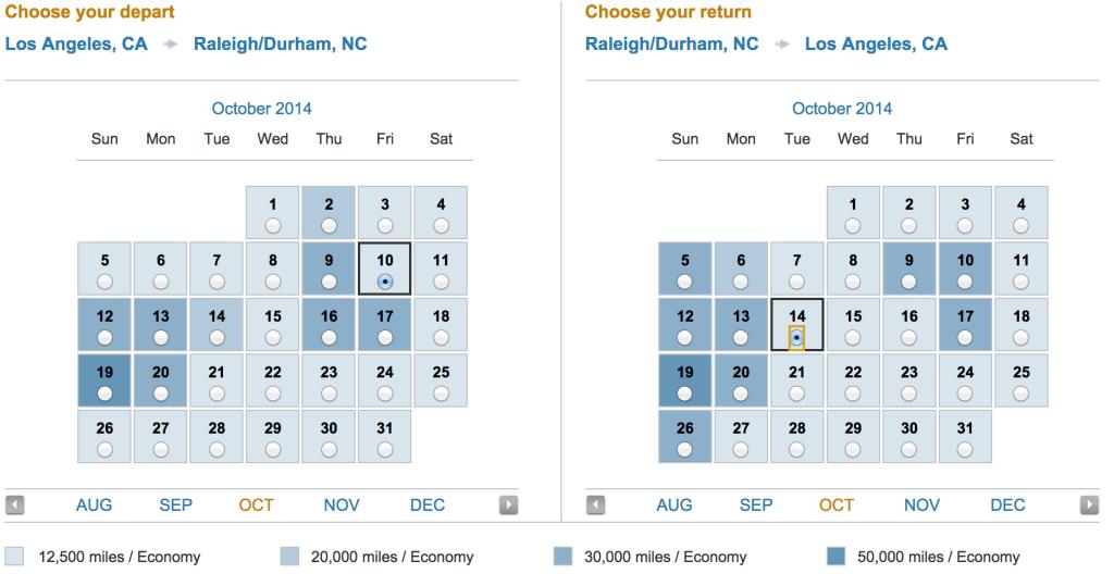 US Airways: LAX to Raleigh Durham Award Travel Availability Calendar