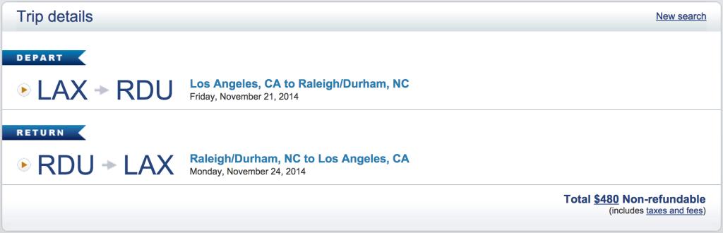 US Airways: LAX to Raleigh Durham Cash Price